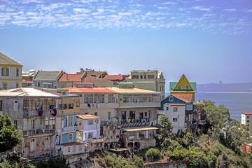 pacific chili seagull streetart valparaiso house sky sun south america