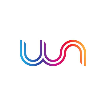 Initial lowercase letter wn, linked outline rounded logo, colorful vibrant gradient color