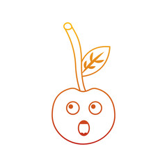 kawaii cherry cartoon fruit facial expression vector illustration
