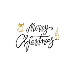 Merry Christmas postcard with gold glitter bells and tree. Modern lettering isolated on white background. Christmas card concept. Handwritten modern brush lettering for winter holidays.