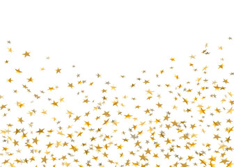 Gold stars falling confetti isolated on white background. Golden explosion confetti on floor. Abstract decoration. Holiday stars for Christmas festive party. Shiny paper glitter Vector illustration