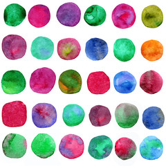Big set of rainbow watercolor circles. Beautiful colorful watercolor design elements isolated on white background.