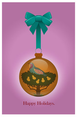 Partridge Holiday / A holiday ornament with a blue ribbon.