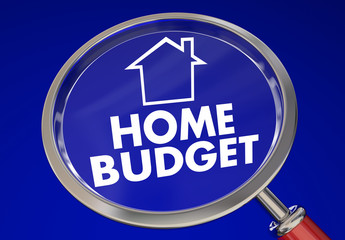 Home Budget Magnifying Glass House Finances 3d Illustration