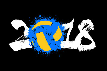 Abstract number 2018 and volleyball