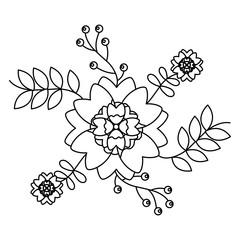 ornamental flower print icon image vector illustration design  black line black line