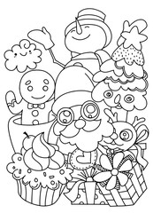 Merry Christmas! Happy Christmas companions. Santa Claus, Snowman, Reindeer and GInger ,Hand Drawn ,vector illustration