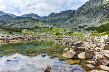 Amazing landscape with Musalenski lakes and Musala peak, Rila mountain, Bulgaria