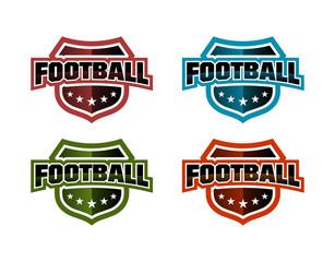 Metallic Football Logo Set Vector Design Template