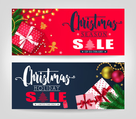 Christmas Season and Holiday Sale Banners Set with Pine Leaves, Gifts, Stars, Christmas Balls, Ginger Bread Man and Tree Promotional Design. Vector Illustration