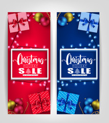 Christmas Holiday Sale Poster or Tags Designs Set with 3D Frame, Gifts, Christmas Balls and Lights Promotional Design. Vector Illustration