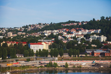 View of Oslo city, capital of Norway, with Sentrumborough, new district and harbour, view from Oslo Opera House, Eastern Norway
