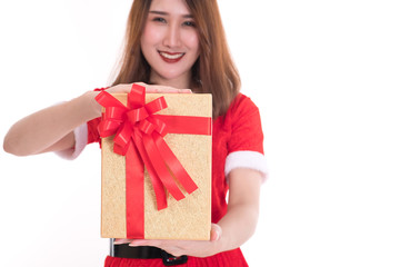happy woman wearing santa claus dress on white background