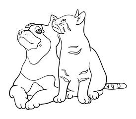 Cat & dog line art 04. Good use for symbol, logo, web icon, mascot, sign, or any design you want.