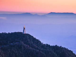 Morning view of Temple on the mountain at Phu Tub Berk, Thailand