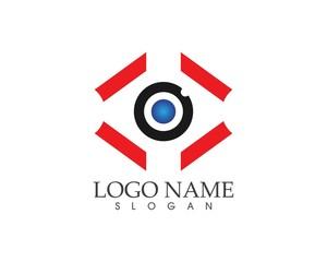 Business eye techno logo design