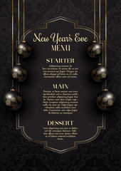 Luxurious elegant New Year's Eve menu design