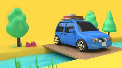 blue car travel on country road wood bridge 3d rendering cartoon style
