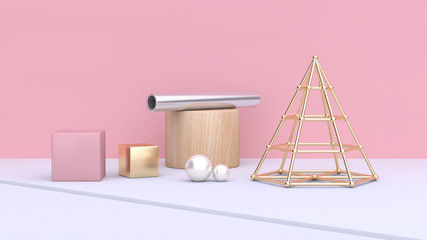 pink wall scene abstract geometric shape sphere cube cone gold silver tube 3d rendering