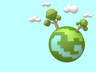 mini world blue sky low poly cartoon style nature environment concept 3d renering