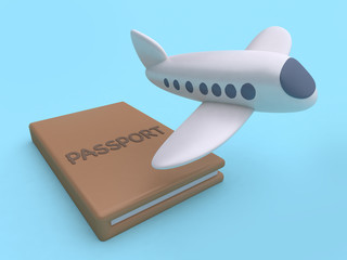 cartoon style plane and passport blue background 3d rendering travel concept