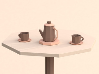 brown low poly coffee cup on table drink concept 3d rendering