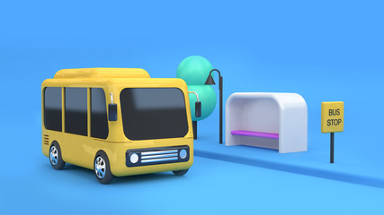 yellow bus bus stop city transportation concept cartoon 3d rendering
