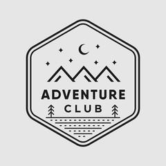 Adventure vintage logo vector design illustration outdoor sign emblem