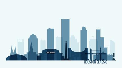 Houston skyline buildings vector illustration