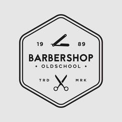 Barbershop vintage vector logo template illustration