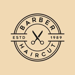 Barbershop vintage vector logo template illustration