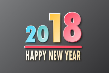 Colorful Happy New Year 2018 on simple black background for greeting card graphic design concept