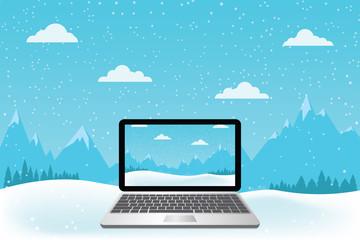 Laptop set on snow. Beautiful mountain view.-Vector illustration.