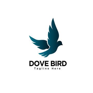flying dove bird art logo
