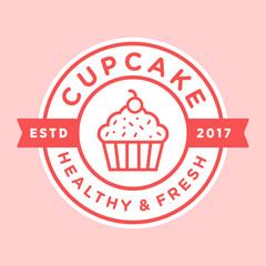 Cupcake vintage logo illustration vector template emblem