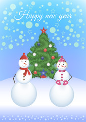Two snowmen around Christmas tree
