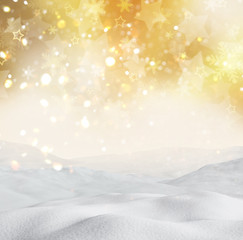 3D snowy landscape on gold bokeh lights background