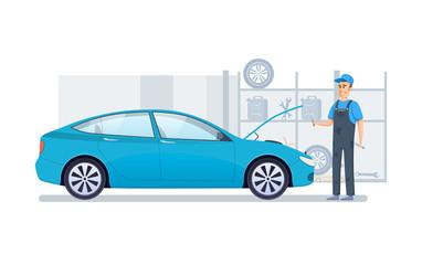 Car repair, service, diagnostics car in building auto service.