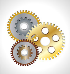 Three gear gold icon symbol