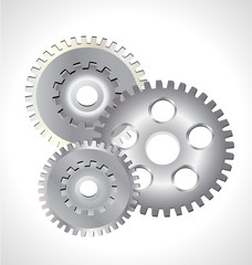 Three silver gear cog icon