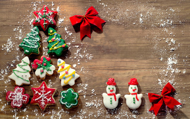 Christmas cookies on the wooden background