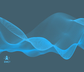 Fotorolgordijn Abstract wave Wave background. Abstract vector illustration. 3d technology style. Illustration with dots. Network design with particle.