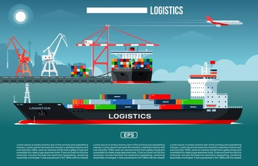 Cargo sea port with cargo freight ships & harbour port cranes also flying jet in the sky & city on background