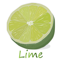 Juicy lime on white background.