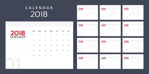 Calendar planner for 2018 year. Vector design print template