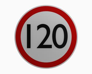Deutsche Verkehrszeichen: Höchstgeschwindigkeit einhundertundzwanzig.