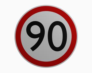 Deutsche Verkehrszeichen: Höchstgeschwindigkeit neunzig. 3d rendering auf weiß isoliert
