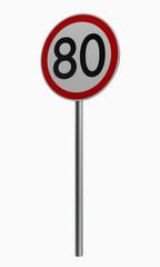 Deutsche Verkehrszeichen: Höchstgeschwindigkeit achtzig.