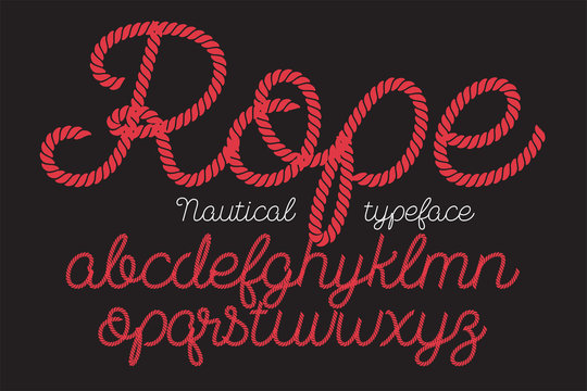 Rope alphabet vector font