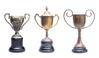 three of old trophy isolated on white background, large file be enough to separate for three piece Wall mural
